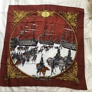 "Hermès Scarf ""Marine et Cavalerie"" 1986 Ledoux"